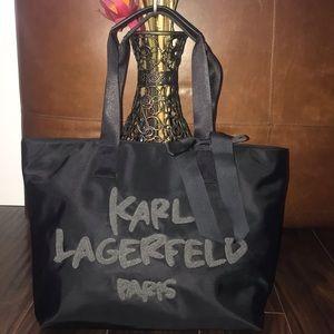 KARL LAGERFELD Black Nylon Logo Ribbon Detail Tote